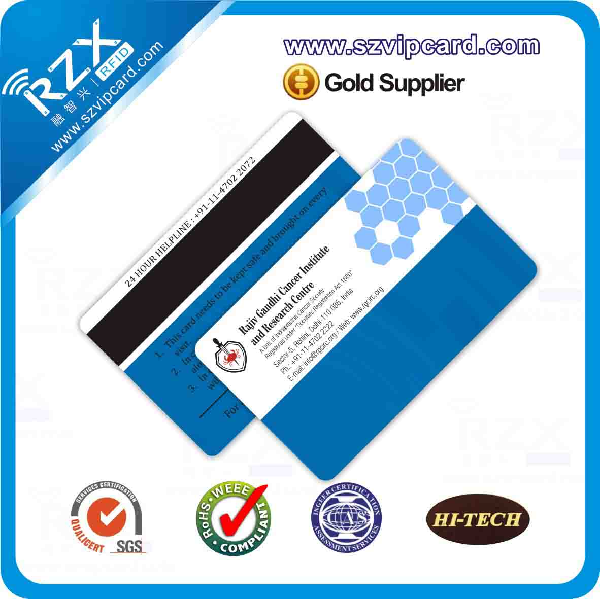 Hico magnetic stripe card